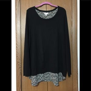 Croft & Barrow Top, Black & White NWOT